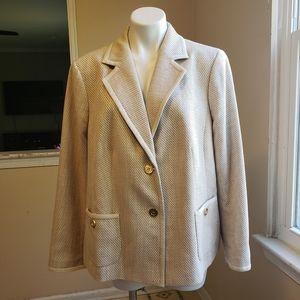 Talbots tan and gold cotton blend blazer size 20WP